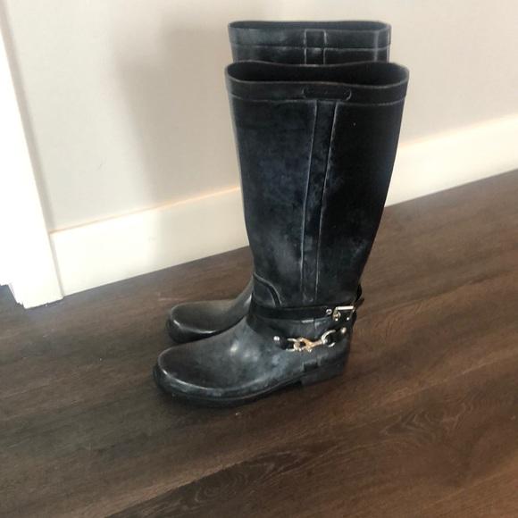 Coach black rain boots women's size 7
